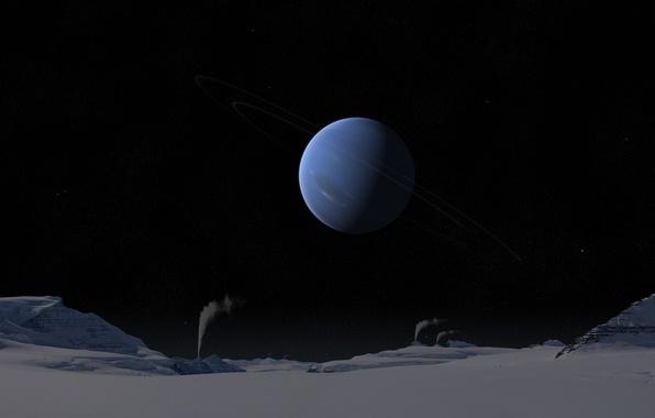 Обои солнечная система, поверхность, снег, звёзды, холод ...