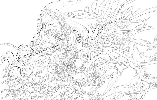Обои девушка, рисунок, чёрно-белое, аниме, арт, белый фон ...