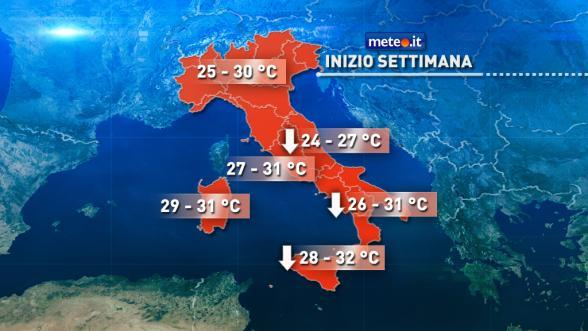 Meteo Italia. Inizio settimana con una generale rinfrescata. Da metà settimana torna il caldo   NEWS METEO.IT