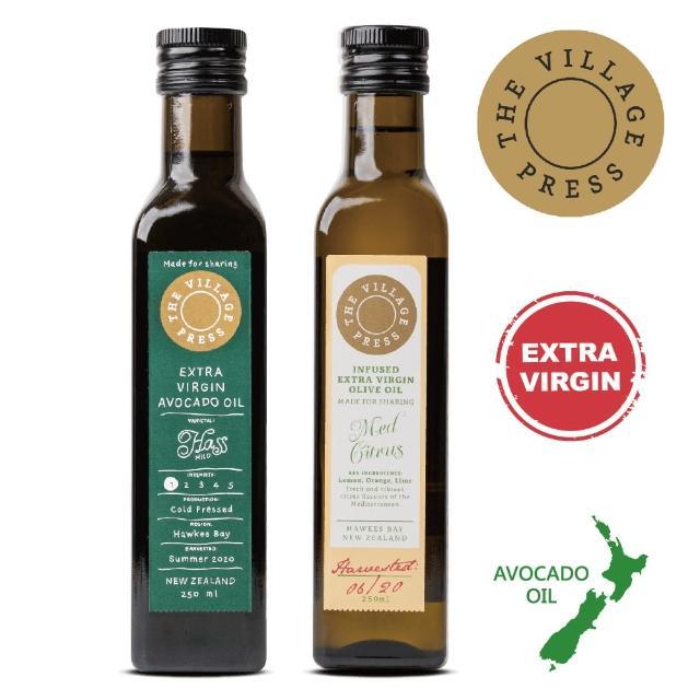 【壽滿趣- 紐西蘭廚神系列】頂級冷壓初榨黃金酪梨油/地中海柑橘風味橄欖油(250ml 兩瓶禮盒裝)
