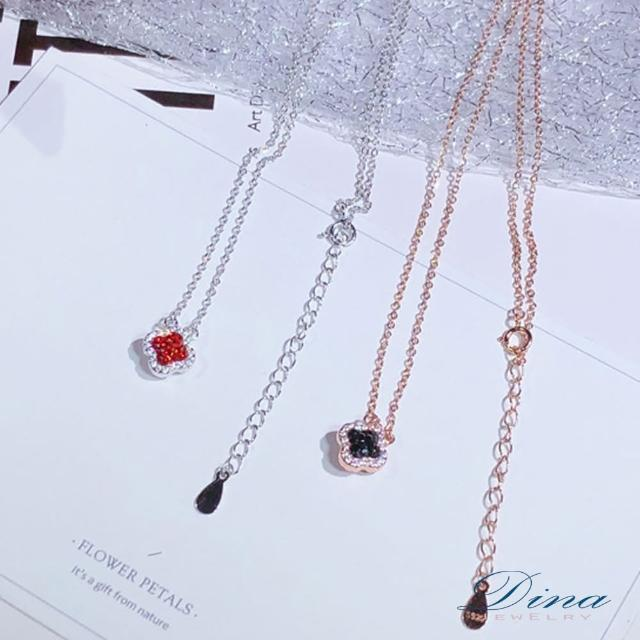 【DINA 蒂娜珠寶】雙面幸運草 925純銀CZ鑽石項鍊(MJSM61748)