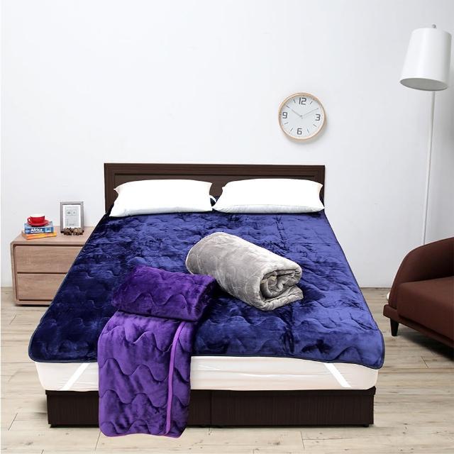 【Victoria】單人加大法蘭絨抗靜電保暖墊(藍/灰/紫三色可選擇)