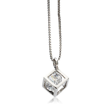 Crystal Zircon Square Pendant Alloy Necklace