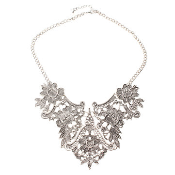Silver Plated Flower Statement Choker Necklace