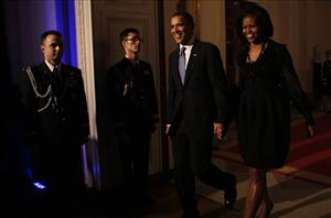 President Obama and Michelle Obama arrive at a Black History Month event celebrating the music of the Civil Rights Movement, Tuesday, Feb. 9, 2010.