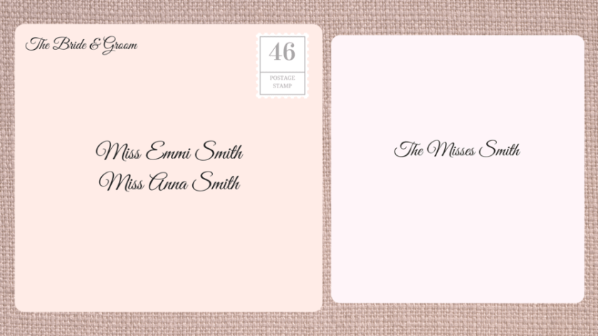 Addressing Double Envelope Wedding Invitations To Family With Daughters