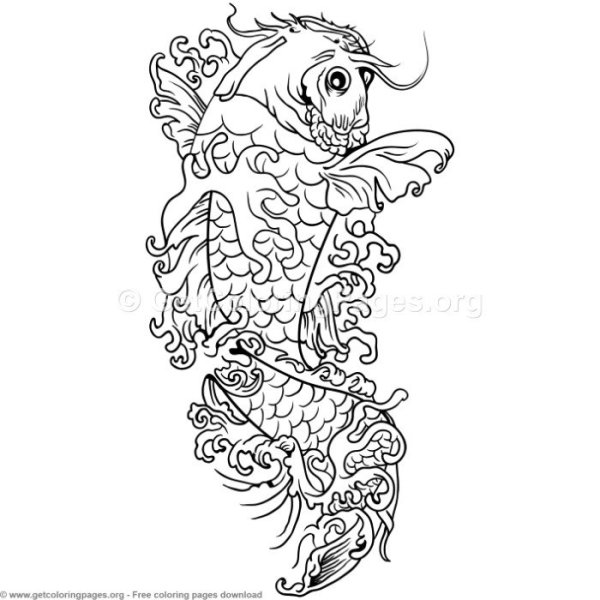 koi fish coloring pages # 12