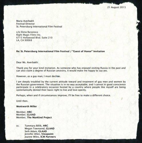 letter gay actor wentworth miller sent
