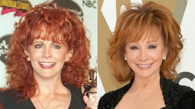 country star Reba McEntire then and now