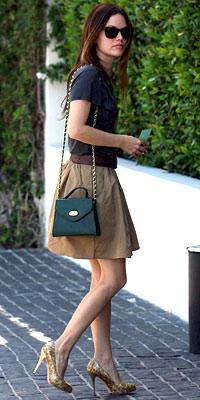 Rachel Bilson in Brian Reyes skirt and Guiseppe Zanotti shoes