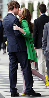 Leighton Meester, Chace Crawford, On location for Gossip Girl, New York City