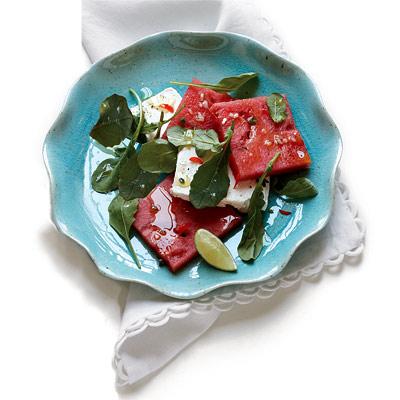 Watermelon and Feta Salad with Serrano Chile Vinaigrette