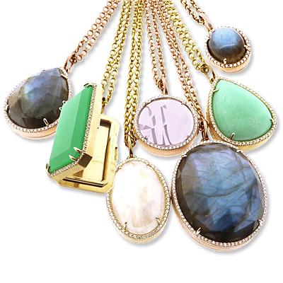 Irene Neuwirth Gold Lockets Set with Diamonds and Gems