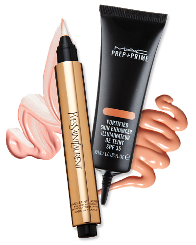 YSL Touche Éclat - MAC Prep + Prime Fortified Skin Enhancer - neutral makeup