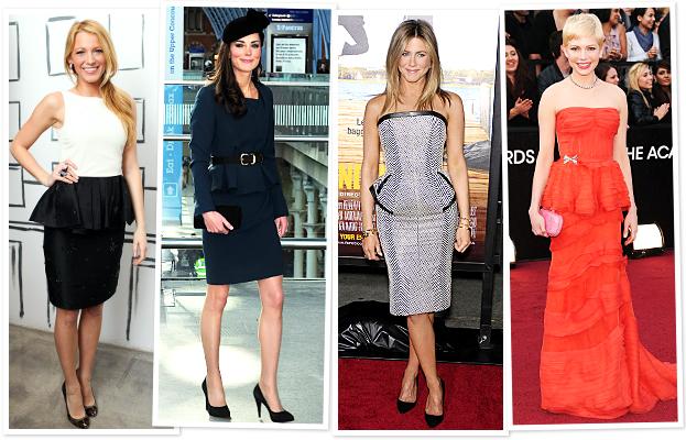blake lively, kate middleton, jennifer anniston, wearing peplum dresses