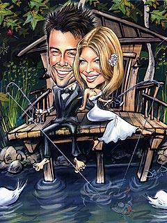 Check Out Josh & Fergie's Wedding Invitation, Caricature