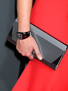 Gray clutch and Kimberly McDonald geode cuff