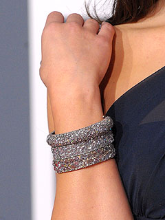 Stacked Lorraine Schwartz diamond bangle bracelets