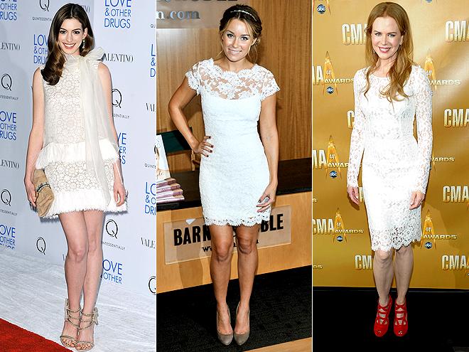 WHITE LACE DRESSES   photo | Anne Hathaway, Lauren Conrad, Nicole Kidman