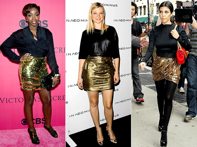 GOLD SEQUINED SKIRTS  photo | Estelle, Amy Smart, Kourtney Kardashian