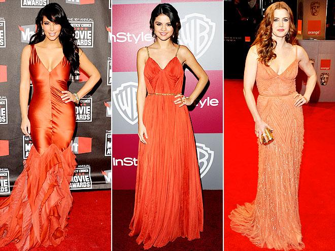 BURNT ORANGE DRESSES photo   Amy Adams, Kim Kardashian, Selena Gomez