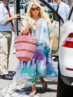 Jessica Simpson Pregnant Camilla Dream Merchant Lace Up Kaftan Santa Monica