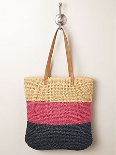 Loehmanns Straw Studios Striped Straw Tote