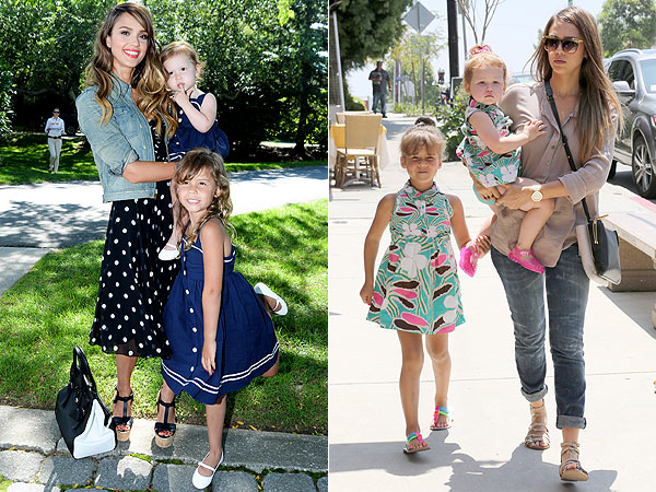Jessica Alba's Daughters Honor and Haven Wearing Matching Dresses