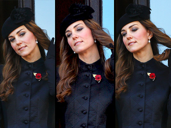 Kate Middleton Photographed Twirling Hair at Remembrance Day Memorial