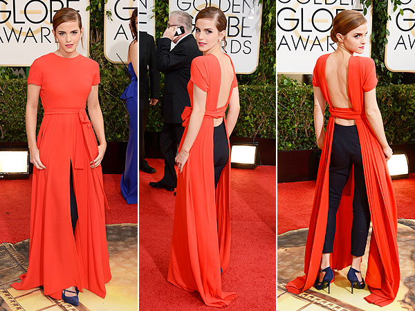 Emma Watson wears a Christian Dior dress pants hybrid to the 2014 Golden Globes