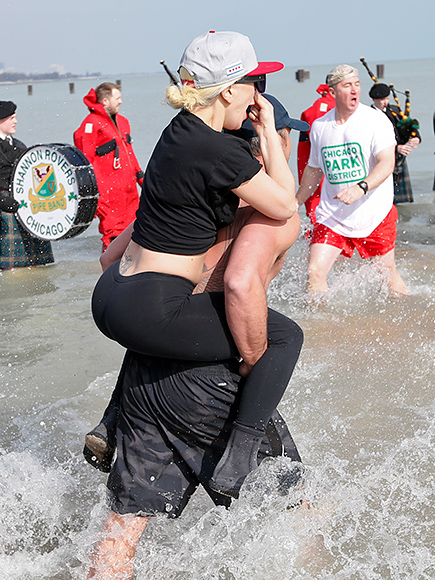 Lady Gaga and Taylor Kinney Take the Polar Bear Plunge for the Second Year in a Row| Music News, Lady Gaga, Taylor Kinney