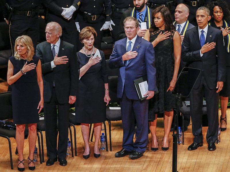 President Obama and President Bush Together Mourn Slain Dallas Police Officers: 'We Are Not as Divided as We Seem'| Shootings, politics, Barack Obama, George W. Bush, Joe Biden, Michelle Obama