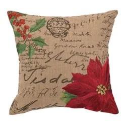 Poinsettia Burlap Pillow