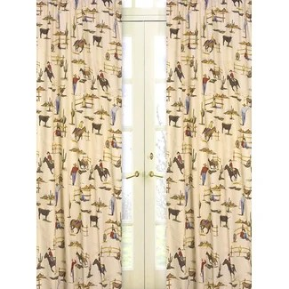 Perfect Wild West Cowboy And Horses Print Curtains