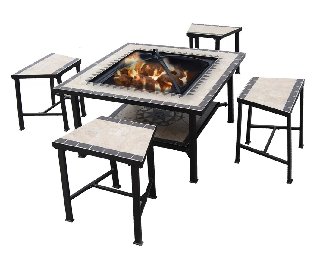 5 Piece Dinning Set Tile Patio Furniture Fire Pit Pool ... on Outdoor Dining Tables With Fire Pit id=28748