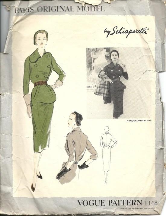 1950s Schiaparelli dress pattern - Vogue 1148