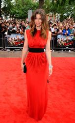 Jessica Biel in sheer red dress with black panties underneeth at the A-Team premiere in London - Hot Celebs Home