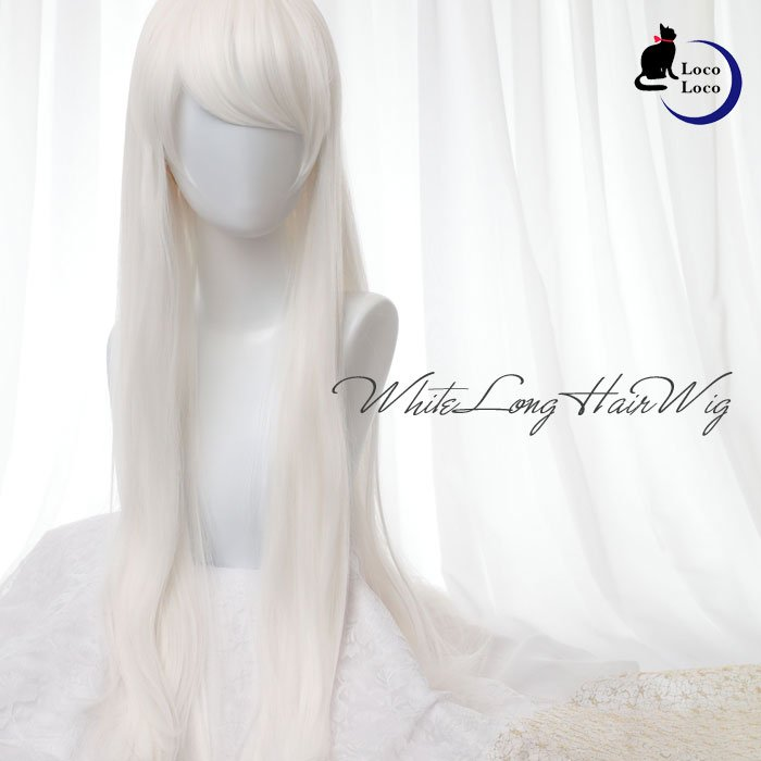 【即納】ウィッグ ロング ホワイト 白髪 ゆめかわ ロリータ クール 耐熱 LocoLoco