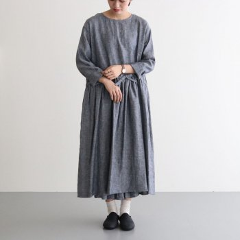 CHAMBRAY PULL OVER DRESS #NAVY [no.4251] _ R&D.M.Co- OLDMAN'S TAILOR   オールドマンズテーラー