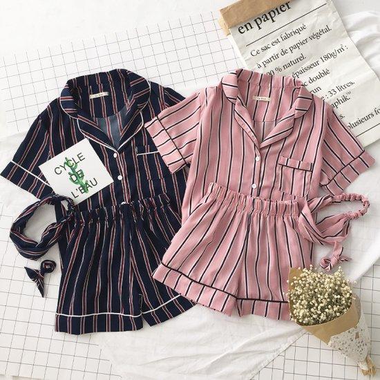 韓国 パジャマ ストライプ