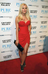 Heidi Montag show off her new boobs in revelign red dress at Pure Nightclub inside Caesar's Palace Resort Hotel - Hot Celebs Home