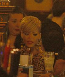 Rihanna leggy in tight skirt and leopard print shirt at ''Long Hall'' pub in Dublin - Hot Celebs Home