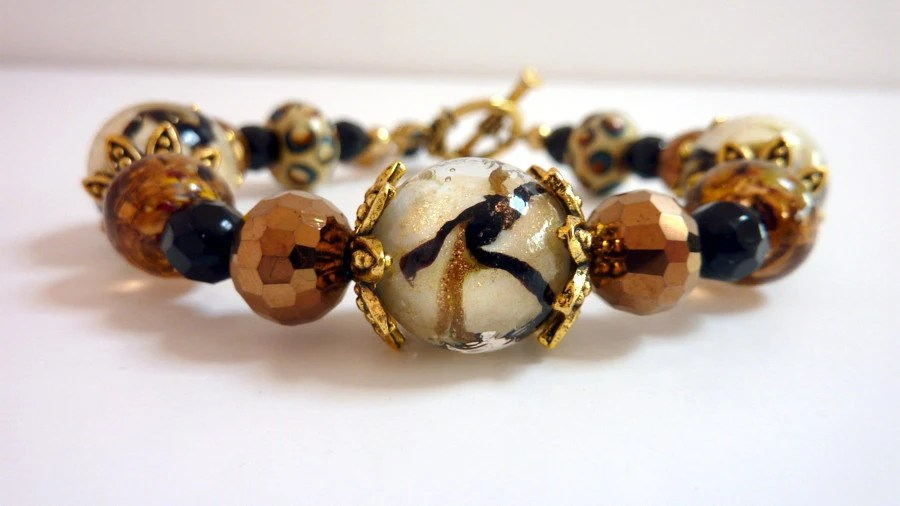 Cream Gold Bracelet, Copper Black Cream Swirl Glass Beaded Bracelet,  Anitique Gold, Earthtone Colors, Amber Lampwork Bracelet