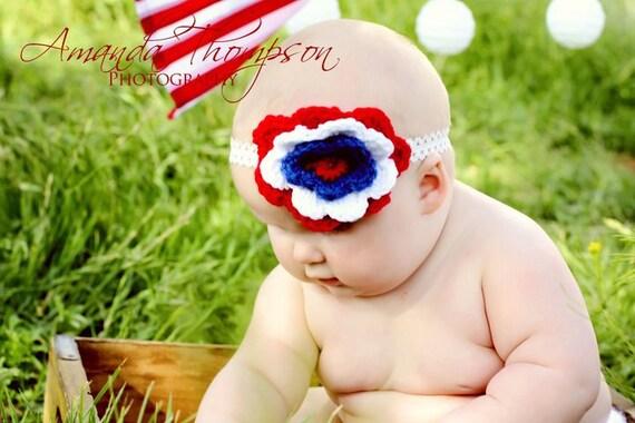 Baby Girl, Crochet Headbands, Baby Girl Crochet Headbands, Americana, USA, 4th of July, Photo Prop, Photography Prop, Made To Order