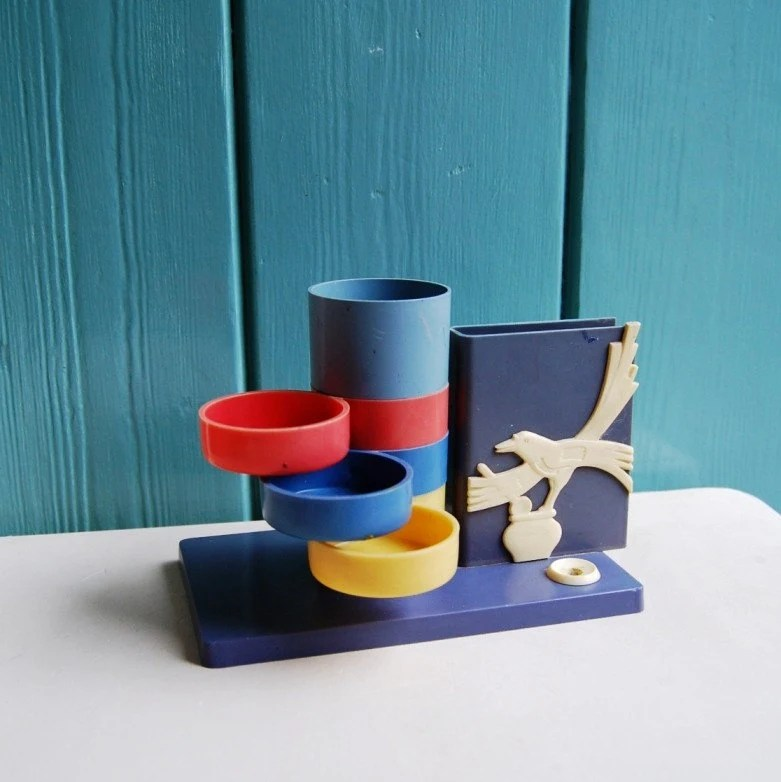 Vintage 80s Desk Organizer / Pen Holder / Stationery Stand - from Russia / Soviet Union