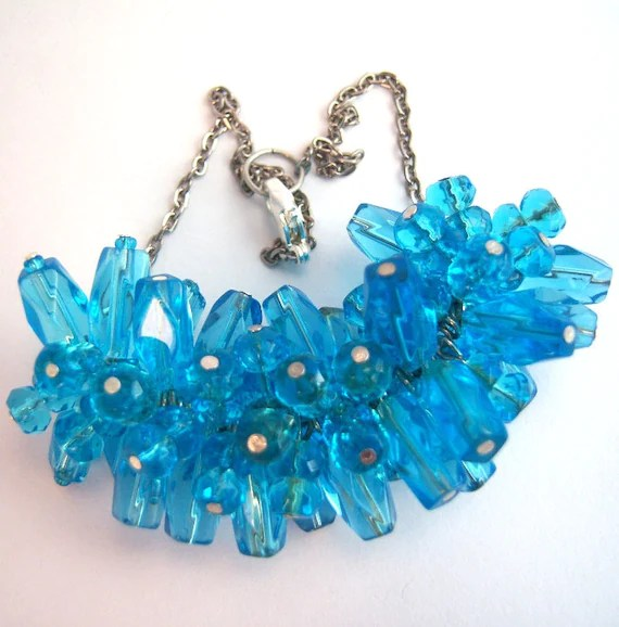 Blue glass car mirror charm