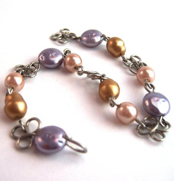 Wirework faux pearl daisy chain bracelet
