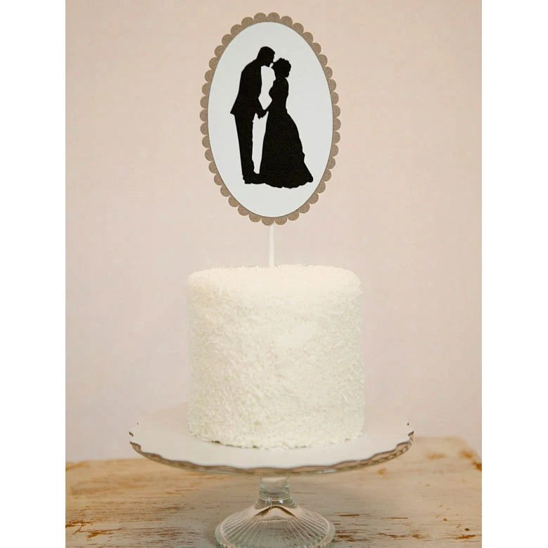Custom Paper Silhouette Wedding Cake Topper made from your photos by Simply Silhouettes as seen in BRIDES Magazine