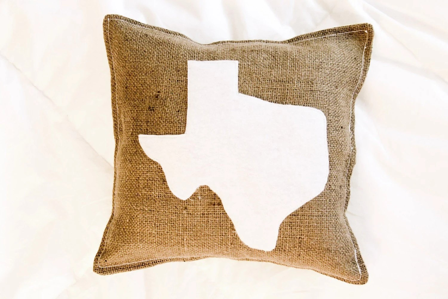 "12""x12"" Customizable State Burlap/Felt Decorative Pillow"