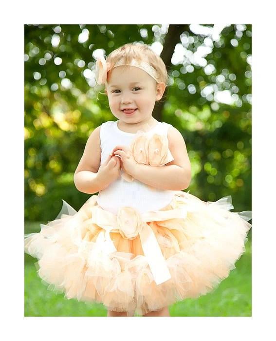 Tutu, Petti Tutu, Custom petti tutu, Baby Tutu, Toddler Tutus, Girls Petti tutus, Birthday Dress, Peach Sugar Posh Petti Tutu Set